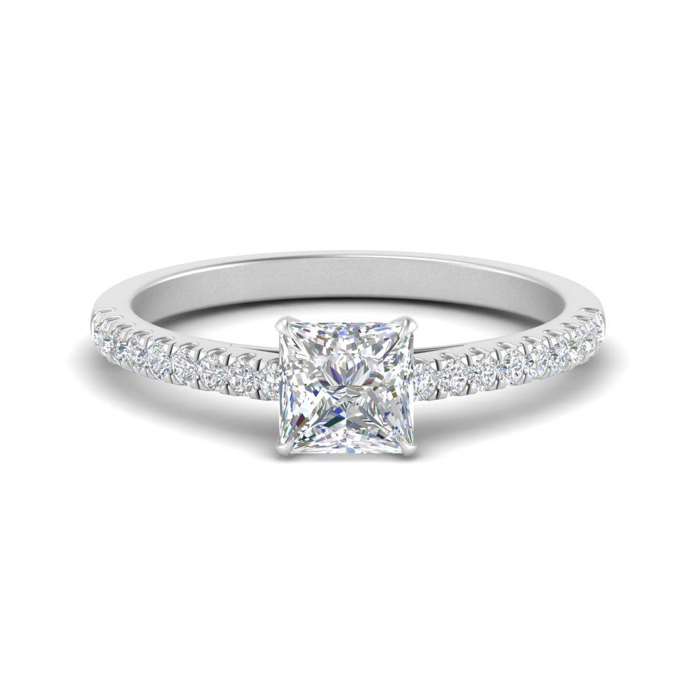 0.50 carat cathedral princess diamond ring in FD9154PRR NL WG