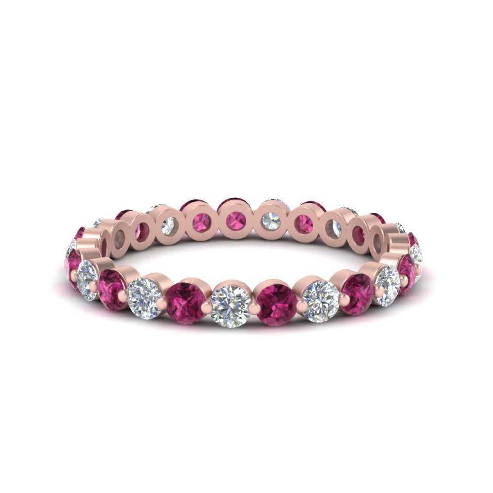 1-carat-single-prong-diamond-eternity-wedding-band-with-pink-sapphire-in-FDEWB9477B(1.00ct)GSADRPI-NL-RG