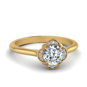 Simple Flower Halo Engagement Ring