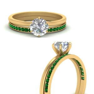 Solitaire Ring With Channel Set Emerald Band