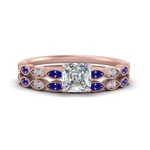 antique-asscher-cut-delicate-diamond-wedding-ring-set-with-sapphire-in-FD1069ASGSABL-NL-RG