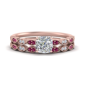 antique-cushion-cut-delicate-diamond-wedding-ring-set-with-pink-sapphire-in-FD1069CUGSADRPI-NL-RG