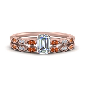 antique-emerald-cut-delicate-diamond-wedding-ring-set-with-orange-sapphire-in-FD1069EMGSAOR-NL-RG