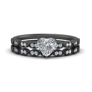 delicate-heart-shaped-vintage-black-gold-wedding-ring-set-FD1069HT-NL-BG