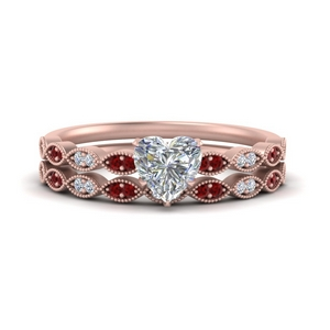 antique-heart-shaped-delicate-diamond-wedding-ring-set-with-ruby-in-FD1069HTGRUDR-NL-RG