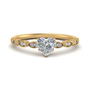 Heart Vintage Lab Diamond Rings