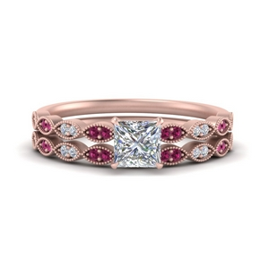 antique-princess-cut-delicate-diamond-wedding-ring-set-with-pink-sapphire-in-FD1069PRGSADRPI-NL-RG