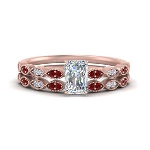 Antique Ruby Bridal Ring Set