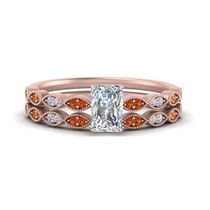 antique-radiant-cut-delicate-diamond-wedding-ring-set-with-orange-sapphire-in-FD1069RAGSAOR-NL-RG