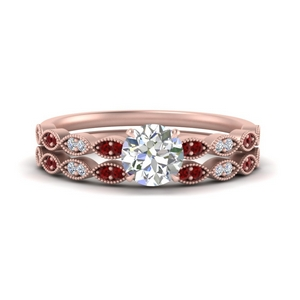 antique-round-cut-delicate-diamond-wedding-ring-set-with-ruby-in-FD1069ROGRUDR-NL-RG