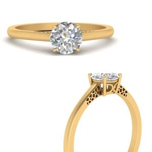 Lab Diamond Solitaire Round Ring