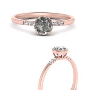 Rustic Salt and Pepper Diamonds Rings