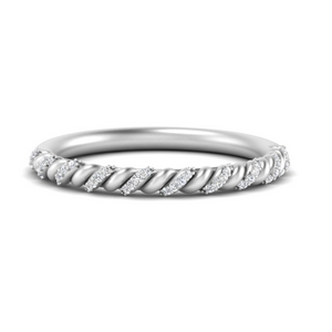 Rope Pave Thin Band Ring