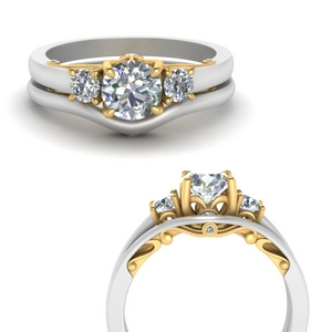 Two Tone Wedding Ring Set