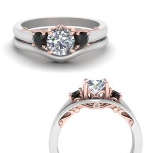 2 Tone Wedding Ring Set