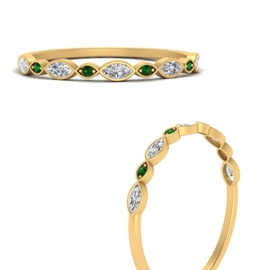 Stackable Diamond Band With Emerald