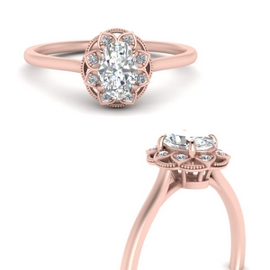 Oval Shaped Halo Lab Diamond Rings