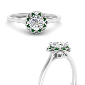Round Art Deco Halo Emerald Ring