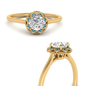 Gold Flower Halo Topaz Ring