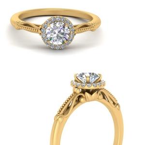 Antique Flower Halo Diamond Ring