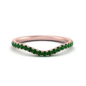 Emerald Curved Wedding Band