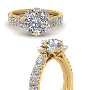 Yellow Gold Halo Ring With Band