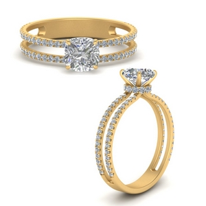 Cushion  Diamond Side Stone Ring