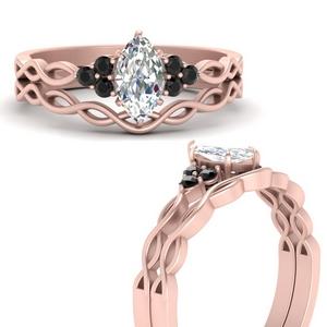 Marquise Shaped Black Diamond Ring Sets