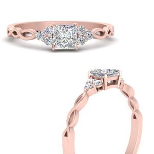Princess Cut Side Stone Lab Diamond Rings