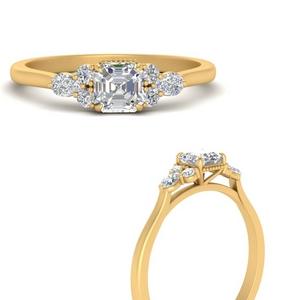 Asscher Cut Moissanite Accented Ring
