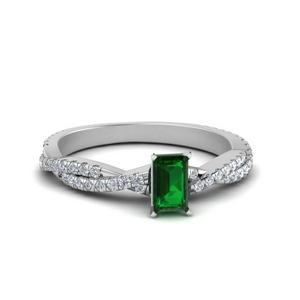 Intertwining Emerald Cut Emerald Ring