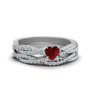 Vine Ruby Engagement Ring Set