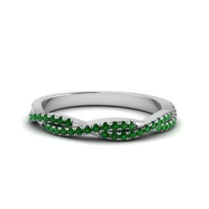 Twisted Vine Emerald Wedding Band