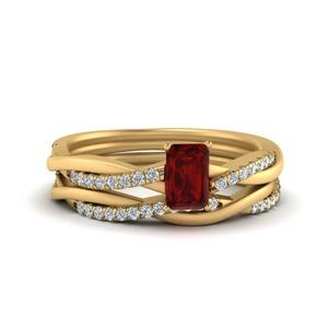 Vine Ruby Wedding Ring Set