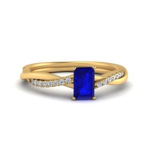 Emerald Cut Sapphire Twist Rings