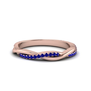 Twisted Sapphire Wedding Band