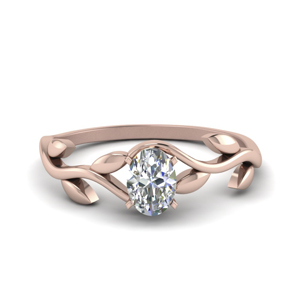 Solitaire Leaf Engagement Ring