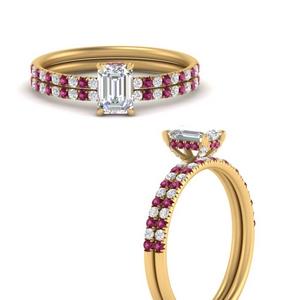 emerald-cut-petite-pave-diamond-wedding-ring-set-with-pink-sapphire-in-FD8523EMGSADRPIANGLE3-NL-YG