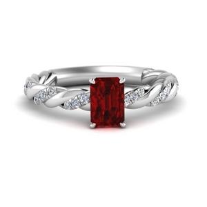 Emerald Cut Twisted Ruby Ring