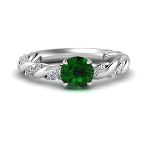 Round Emerald Engagement Ring