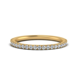 Pave Diamond Straight Wedding Band