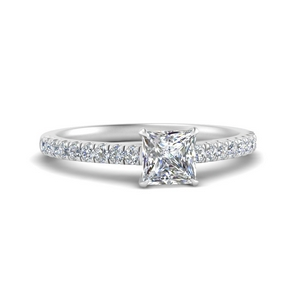 Cathedral 0.50 Carat Princess Cut Ring