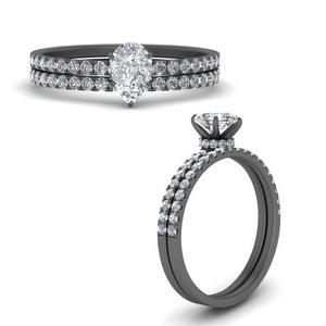Pave Wrap Wedding Ring Set