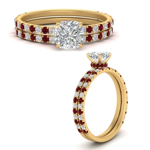 three-quarter-cushion-cut-diamond-gallery-bridal-ring-set-with-ruby-in-FD9168CUGRUDRANGLE3-NL-YG