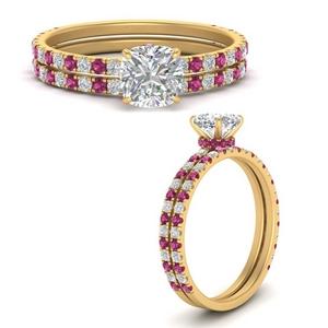 three-quarter-cushion-cut-diamond-gallery-bridal-ring-set-with-pink-sapphire-in-FD9168CUGSADRPIANGLE3-NL-YG