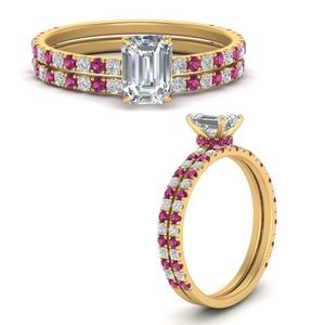 three-quarter-emerald-cut-diamond-gallery-bridal-ring-set-with-pink-sapphire-in-FD9168EMGSADRPIANGLE3-NL-YG