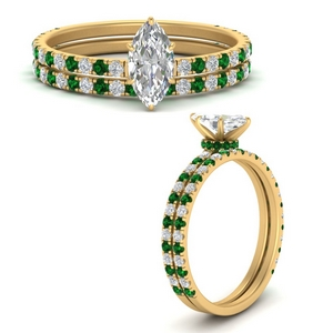 three-quarter-marquise-cut-diamond-gallery-bridal-ring-set-with-emerald-in-FD9168MQGEMGRANGLE3-NL-YG