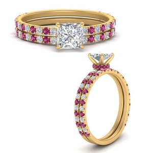 three-quarter-princess-cut-diamond-gallery-bridal-ring-set-with-pink-sapphire-in-FD9168PRGSADRPIANGLE3-NL-YG