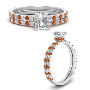 three-quarter-radiant-cut-diamond-gallery-bridal-ring-set-with-orange-sapphire-in-FD9168RAGSAORANGLE3-NL-WG
