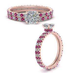 under-halo-eternity-cushion-cut-diamond-wedding-band-set-with-pink-sapphire-in-FD9168CUGSADRPIANGLE3-NL-RG